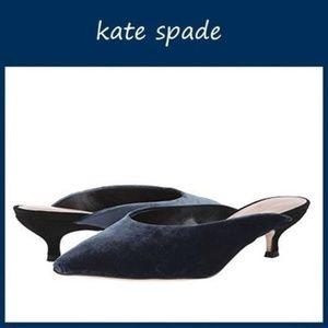 🆕Kate Spade Pointed Toe Heeled Mule Blue Velvet